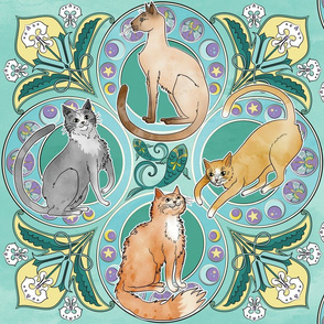 Art Nouveau Cats in Turquoise