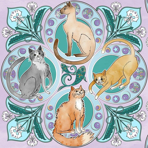 Art Nouveau Cats in Amethyst