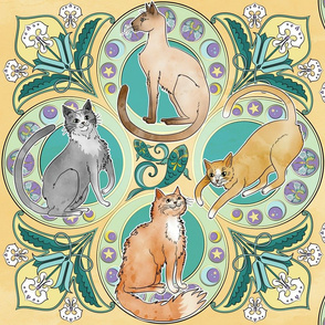 Art Nouveau Cats in Golden