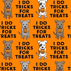 I do tricks for treats - halloween pit bulls - orange - LAD19