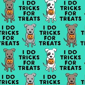 I do tricks for treats - halloween pit bulls - teal - LAD19