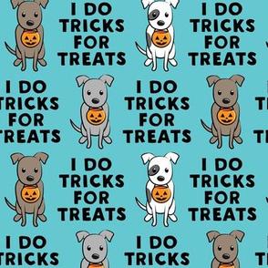 I do tricks for treats - halloween pit bulls - blue - LAD19