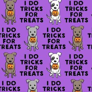 I do tricks for treats - halloween pit bulls - purple - LAD19