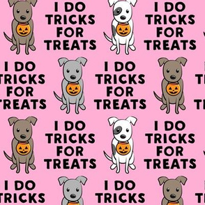 I do tricks for treats - halloween pit bulls - pink - LAD19