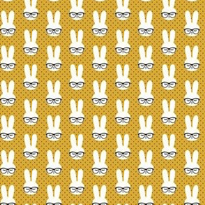 (micro scale) bunny with glasses - mustard polka C19BS