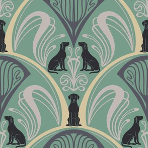 Art Nouveau Black Labrador Retrievers - Mint Green
