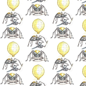 sewing spiders on a balloon