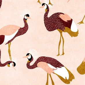 crowned  cranes - Pale peach & burgundy