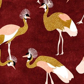crowned cranes - rust & mustard