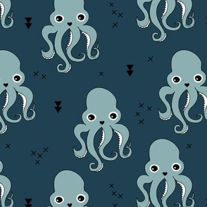 Octopus waters sweet sea life animals and geometric details winter stone blue navy boys