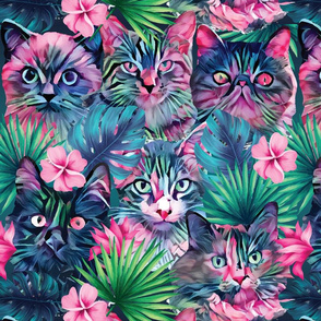 Summer floral cats - XL