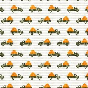 (small scale) fall trucks - pumpkin - green on stripes - LAD19BS