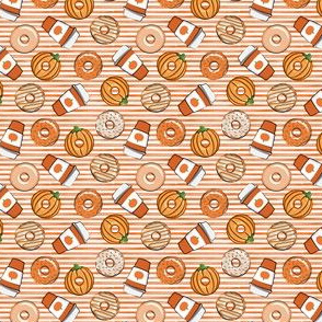(extra small) Coffee and Fall Donuts - PSL pumpkin fall donuts toss - orange stripes - LAD19BS