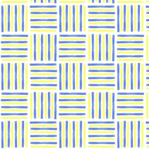 Bold watercolor stripes in striking yellow and blue complementary colors