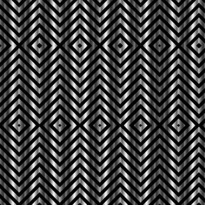 Silver platinum metallic zigzag pattern on black