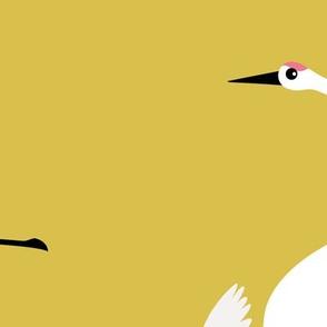 Summer is coming and so are the birds sweet Scandinavian minimal style crane bird flock mustard yellow gender neutral XXL