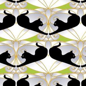 Deco Black Cat  - Green