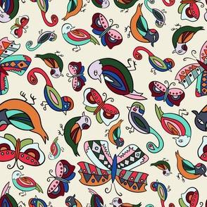 Birds and Butterflies-Cream