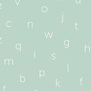Minimal abc back to school theme alphabet text type design green mint