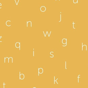 Minimal abc back to school theme alphabet text type design gender neutral ochre yellow