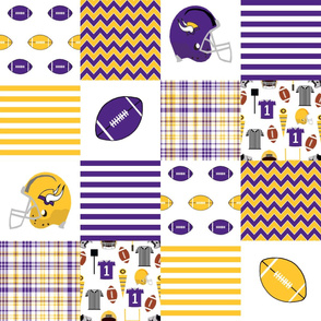 "vikings quilt - 6"" squares, patchwork fabric, sports fabric, football fabric, football fan, yellow  and purple, minnesota fabric"