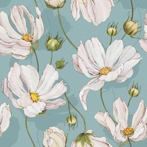 Watercolor White Flowers Daisy-036-Light Blue