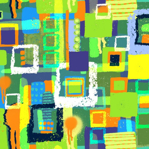 Abstract Blue Green Orange