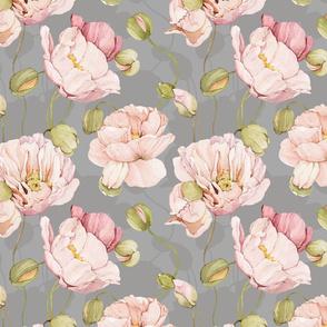 Watercolor Flowers Poppies - 037