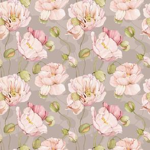 Watercolor Poppies Flowers - 037 - Beige