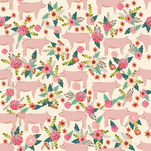 LARGE - pigs and florals fabric farmyard animals farm fabrics - cream