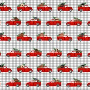 SMALL - christmas dachshund red truck fabric - cute doxie fabric, cute dachshund fabric, dog fabric, dog design,  - grey check