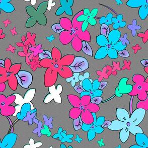 Floral Fantasy  (Multicolor on Grayhite) 15inch repeat