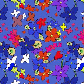 Floral Fantasy  (Vibrant Multicolor on Blue) 15inch repeat