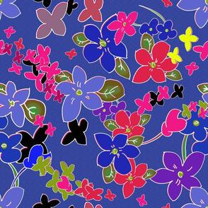 Floral Fantasy (Violet Cloisonné) 15inch repeat, David Rose Designs