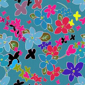 Floral Fantasy (Teal Cloisonné) 15inch repeat, David Rose Designs
