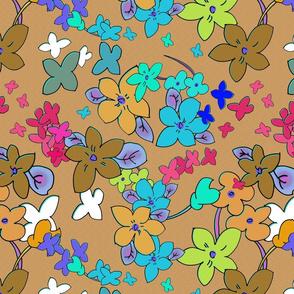 Floral Fantasy (Fawn) 15inch repeat, David Rose Designs