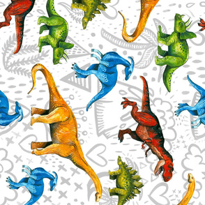 Rotated Happy Dinosaurs on Volcano Background - Large