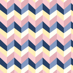 Rose and Blue Colorblock Chevrons
