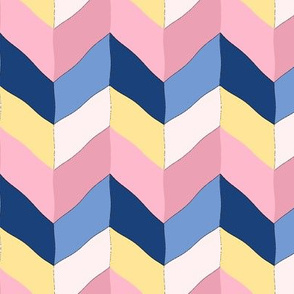 Blue and Pink Cartoon Chevrons