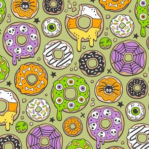 Halloween Donuts Fall Trick or Treat on Light Olive Green