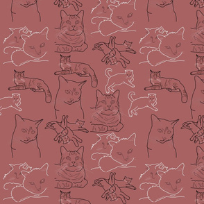 Friendly Cats Sketches on Dusty Rose