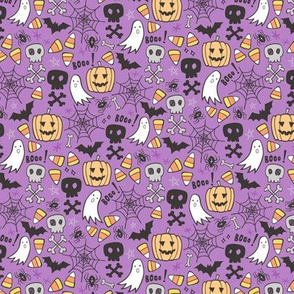 Halloween Doodle with Skulls,Bat,Pumpkin,Spiderweb,Ghost on Purple Tiny Small