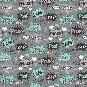 Superhero Comic Pop art Speech Bubbles Words Mint Green on Grey Smaller