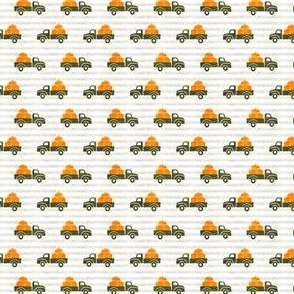 (extra small scale) fall trucks - pumpkin - green on stripes - LAD19BS