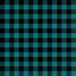 (small scale) black and teal plaid - LAD19BS