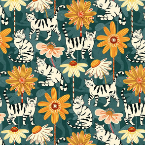 Daisy Cats - Teal (Large Version)