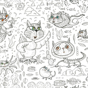 fantasy cats, large scale, black and white