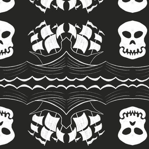 Pirate Ship and Skull