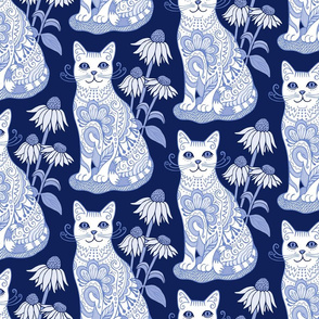 Fancy Feline Blue and White