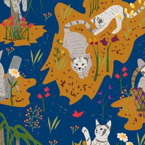 Antics of a Kitten- Electric Blue Toile
